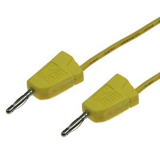 CABLE 300mm 2mm BANANA/BANANA MOULDED STACKABLE YELLOW
