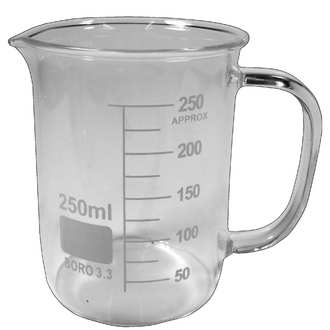 BEAKER BOROSILICATE GLASS GRADUATED 250ML WITH HANDLE OR MUG BEAKER